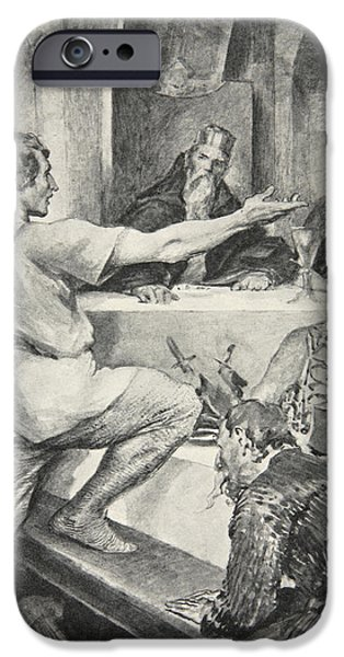 Fable iPhone Cases - Beowulf replies haughtily to Hunferth iPhone Case by John Henry Frederick Bacon