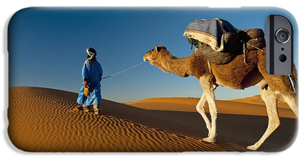 Sahara Sunlight iPhone Cases - Berber Leading Camel Across Sand Dune iPhone Case by Ian Cumming