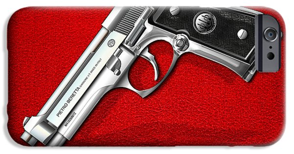 Stainless Steel Digital iPhone Cases - Beretta 92FS Inox over Red Leather  iPhone Case by Serge Averbukh