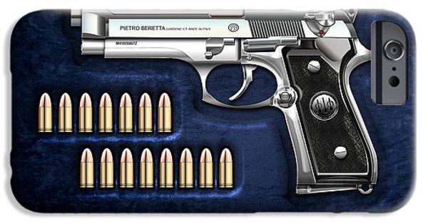 Stainless Steel iPhone Cases - Beretta 92FS Inox with Ammo on Blue Velvet  iPhone Case by Serge Averbukh