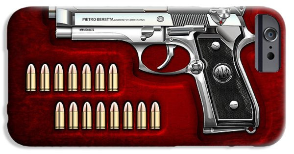Stainless Steel iPhone Cases - Beretta 92FS Inox with Ammo on Red Velvet  iPhone Case by Serge Averbukh