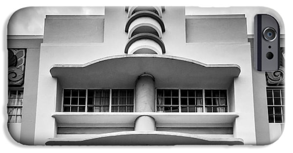 Collins iPhone Cases - Berkeley Shores Hotel  2 - South Beach - Miami - Florida - Black and White iPhone Case by Ian Monk