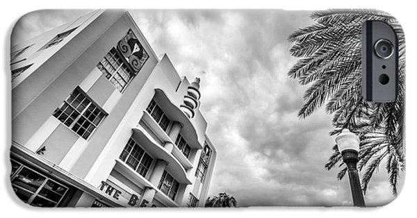 Collins iPhone Cases - Berkeley Shores Hotel  3 - South Beach - Miami - Florida - Black and White iPhone Case by Ian Monk