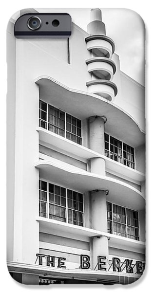 Ianmonk iPhone Cases - Berkeley Shores Hotel - South Beach - Miami - Florida - Black and White iPhone Case by Ian Monk