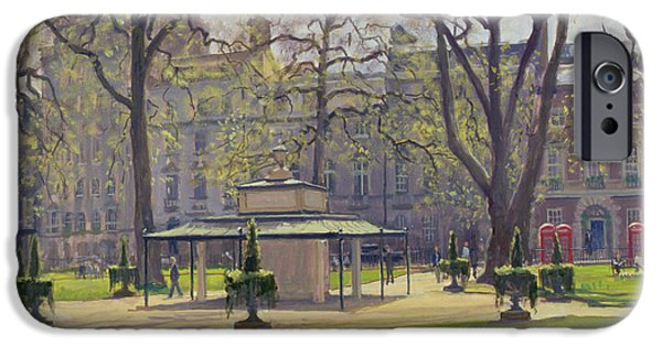 Snake iPhone Cases - Berkeley Square, London Oil On Canvas iPhone Case by Julian Barrow