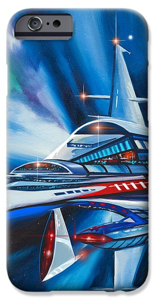 Cosmic Paintings iPhone Cases - Berkey IV Starship iPhone Case by James Christopher Hill