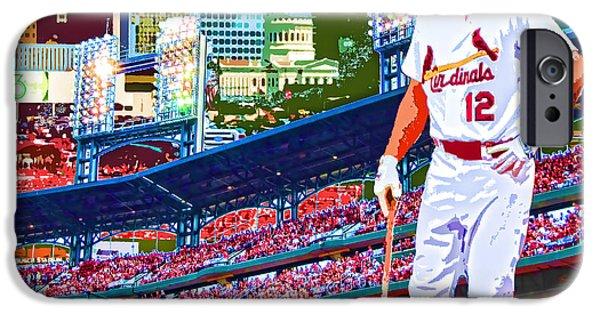 Baseball Glove iPhone Cases - Berkman in Saint Louis iPhone Case by John Freidenberg
