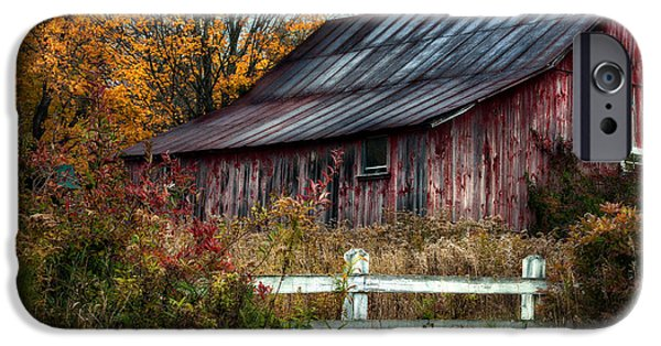 Old Barns iPhone Cases - Berkshire Autumn - Old Barn Series   iPhone Case by Thomas Schoeller