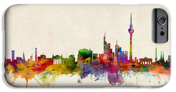 Berlin iPhone Cases - Berlin City Skyline iPhone Case by Michael Tompsett