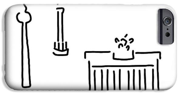 Berlin Drawings iPhone Cases - Berlin gate tower iPhone Case by Lineamentum