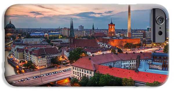 Berlin Germany iPhone Cases - Berlin Germany major landmarks at sunset iPhone Case by Michal Bednarek