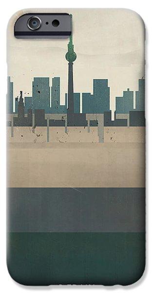 Berlin Paintings iPhone Cases - Berlin Germany Skyline iPhone Case by Bri Buckley