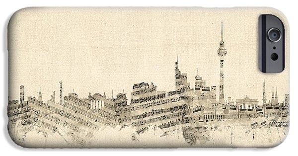 Berlin iPhone Cases - Berlin Germany Skyline Sheet Music Cityscape iPhone Case by Michael Tompsett