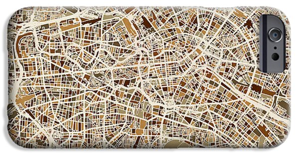 Map Of Germany iPhone Cases - Berlin Germany Street Map iPhone Case by Michael Tompsett