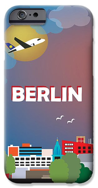 Cute Illustration iPhone Cases - Berlin iPhone Case by Karen Young