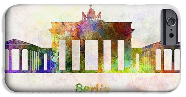 Berlin Paintings iPhone Cases - Berlin Landmark Brandenburg Gate in watercolor iPhone Case by Pablo Romero