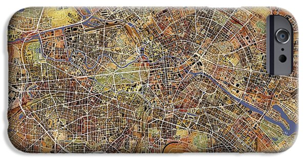 Germany Map iPhone Cases - Berlin iPhone Case by Paul Hein