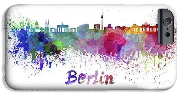 Berlin Paintings iPhone Cases - Berlin skyline in watercolor iPhone Case by Pablo Romero