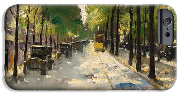 Berlin Paintings iPhone Cases - Berlin Street 1920s iPhone Case by Ury
