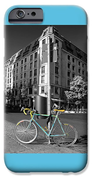 Berlin Street View With Bianchi Bike iPhone Case by Ben and Raisa Gertsberg