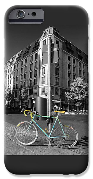 Brg iPhone Cases - Berlin Street View With Bianchi Bike iPhone Case by Ben and Raisa Gertsberg