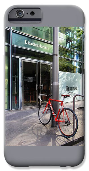 Berliner Pilsner iPhone Cases - Berlin Street View With Red Bike iPhone Case by Ben and Raisa Gertsberg