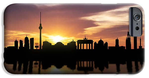 Downtown Mixed Media iPhone Cases - Berlin Sunset Skyline  iPhone Case by Aged Pixel