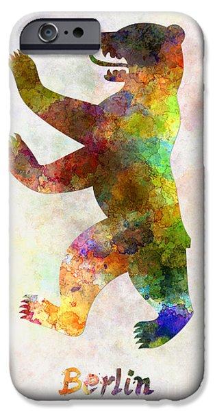 Berlin Paintings iPhone Cases - Berlin Symbol in watercolor iPhone Case by Pablo Romero