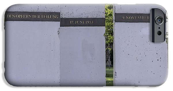 Historic Site iPhone Cases - Berlin Wall Memorial at Deutsches Eck iPhone Case by Teresa Mucha