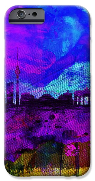 Berlin iPhone Cases - Berlin Watercolor Skyline iPhone Case by Naxart Studio