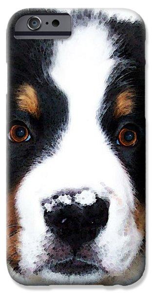 Breed Digital Art iPhone Cases - Bernese Mountain Dog - Baby Its Cold Outside iPhone Case by Sharon Cummings