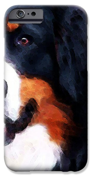 Dogs Digital Art iPhone Cases - Bernese Mountain Dog - Half Face iPhone Case by Sharon Cummings