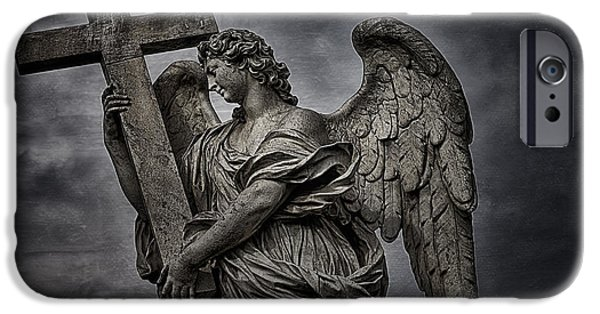 Famous Figures iPhone Cases - Berninis statue of angel iPhone Case by Erik Brede
