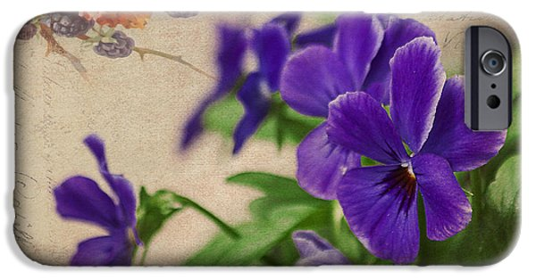 Berry iPhone Cases - Berries and Pansies iPhone Case by Janice Rae Pariza