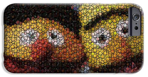 Bottlecaps iPhone Cases - Bert and Ernie Bottle Cap Mosaic iPhone Case by Paul Van Scott
