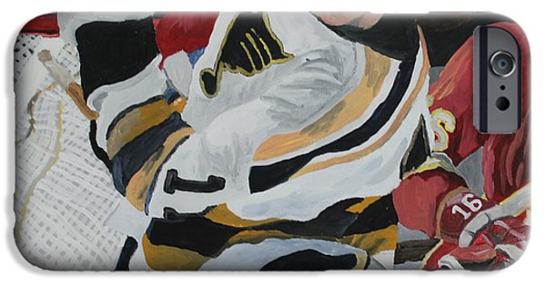 Hockey Paintings iPhone Cases - Bert Wilson  iPhone Case by Aidan Squirrell