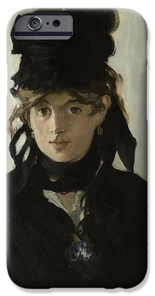 Berthe Paintings iPhone Cases - Berthe Morisot With a Bouquet of Violets iPhone Case by Edouard Manet
