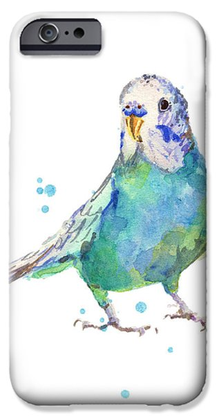 Parakeet iPhone Cases - Bertie Wonderblue the Budgie iPhone Case by Alison Fennell