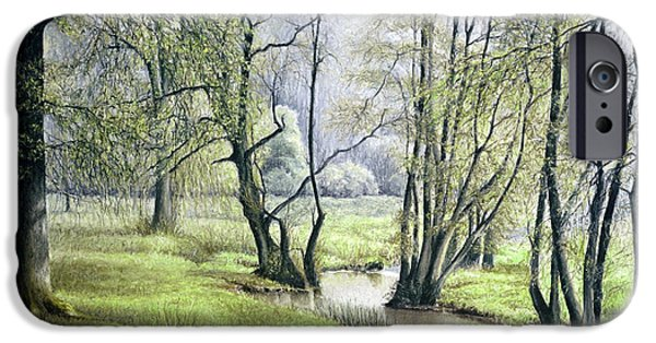 Tree Print Pastels iPhone Cases - Beside Still Waters iPhone Case by Rosemary Colyer