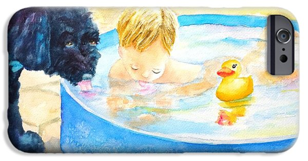 Bonding Paintings iPhone Cases - Best Buddies - Boy and Dog iPhone Case by Carlin Blahnik