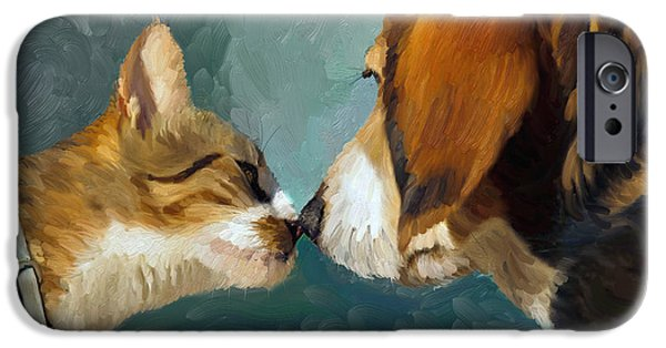 Dog Close-up Paintings iPhone Cases - Best Friends iPhone Case by Angela A Stanton