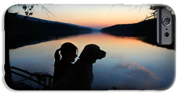 Chocolate Lab Digital Art iPhone Cases - Best Friends iPhone Case by Lori Deiter