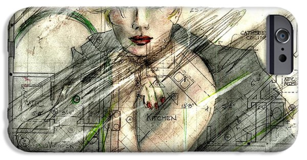 Mixed Media Drawings iPhone Cases - Best laid plans... iPhone Case by P J Lewis