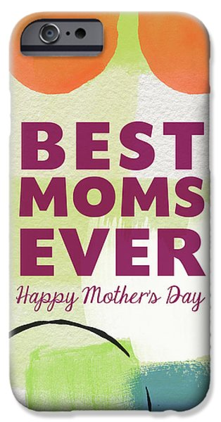 Painted Mixed Media iPhone Cases - Best Moms Card- Two Moms Greeting Card iPhone Case by Linda Woods