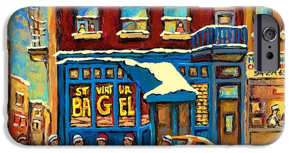 Store Fronts Paintings iPhone Cases - Best Sellers Original Montreal Paintings For Sale Hockey Game At St.viateur Bagel Carole Spandau iPhone Case by Carole Spandau