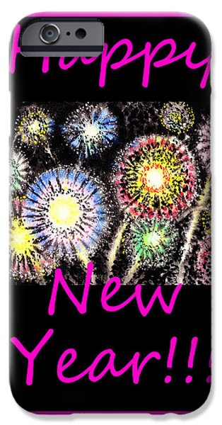 Fireworks iPhone Cases - Best Wishes And Happy New Year iPhone Case by Irina Sztukowski