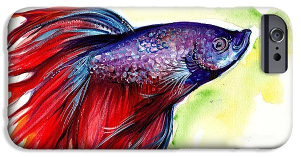 Betta iPhone Cases - Beta Splendens Watercolor Fish iPhone Case by Tiberiu Soos