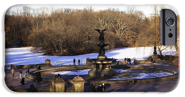 Snowy Day iPhone Cases - Bethesda Fountain 2013 - Central Park - NYC iPhone Case by Madeline Ellis
