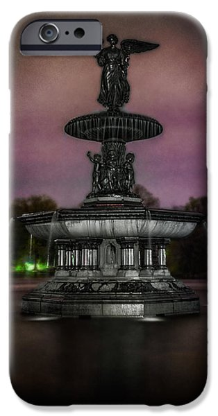 Night Angel iPhone Cases - Bethesda Fountain at Night iPhone Case by Chris Lord