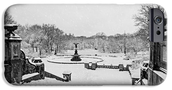 Wintertime iPhone Cases - Bethesda Fountain In Central Park BW iPhone Case by Susan Candelario
